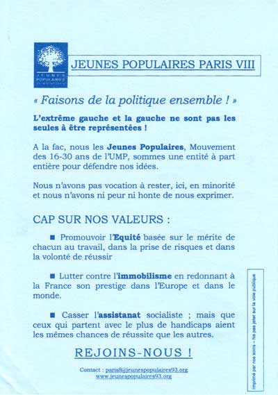 Les Jeunes Populaires, 31 octobre 2005, Paris 8