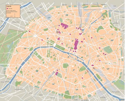 Localisation des sex shops parisiens en 2004, source APUR, Pages Jaunes et relevés personnels