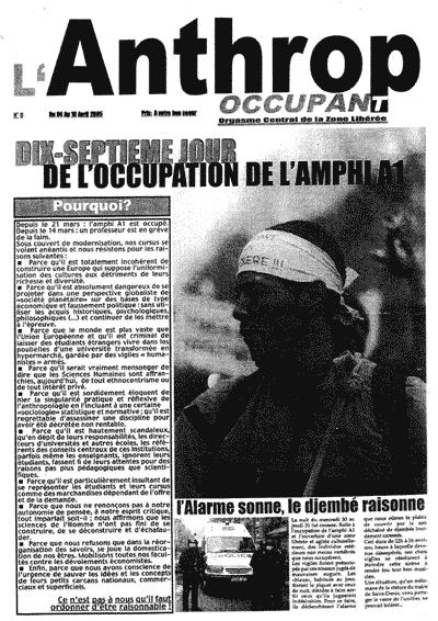 L'Anthrop Occupant, Université Paris 8 Vincennes Saint-Denis, Avril 2005, Manifestation d'étudiants d'anthropologie
