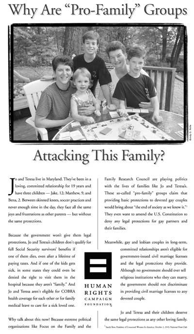 Publicité du Human Rights Campaign, novembre 2003
