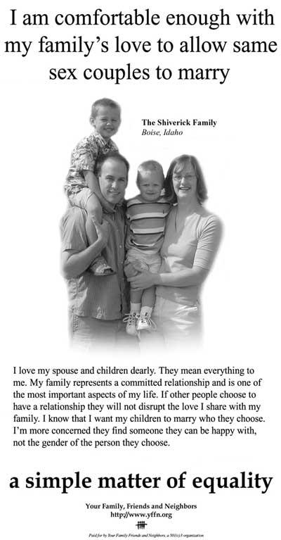Publicité du groupe 'Your Family Friends and Neighbors', Idaho, 2005